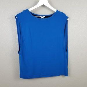 Helmut Lang Blue Black Sleeveless Blouse Small